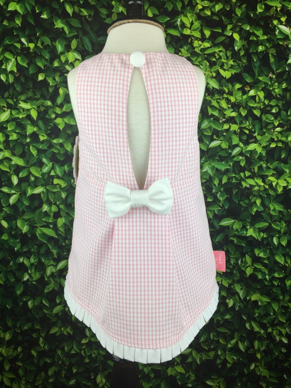 "The ""Key Hole Tunic"" in Textured Pink and White Shirting"