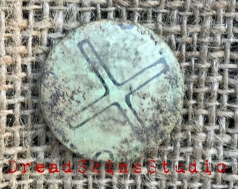 "Cross & Ball Postapocalyptic Wasteland Hand Distressed Pin Button Badge 1"" / 25mm"