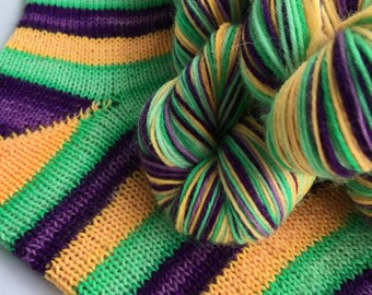 Hand dyed self striping sock yarn - Fright Night