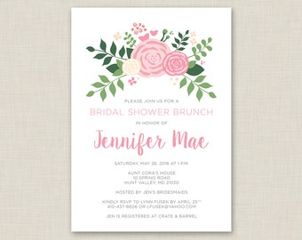 Floral Bridal Shower Invitation / Bridal Brunch / Spring Bridal Shower / Summer Bridal Shower