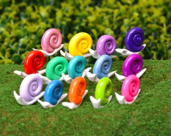 Fairy Garden Snails - Brightly Coloured miniatures