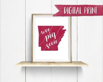 "Arkansas ""Woo Pig Sooie""  Watercolor Print, Printable Wall Decor, Digital Print"