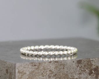 Sterling Silver Beaded Band - Stacking Rings - Purchase Singles or Multiples - Silver Round Bead Ring to Stack Alone or With Other Rings