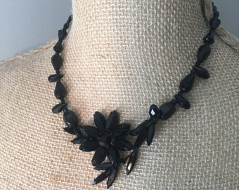 Vintage Jet Black Rhinestone Brooch Repurposed Necklace