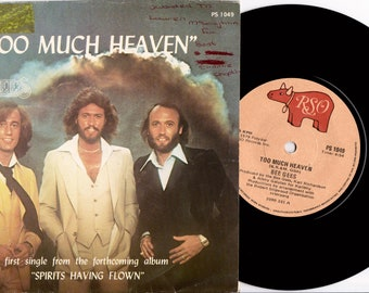 "BEE GEES Too Much Heaven 1978 South Africa Rare 7"" 45 Vinyl Single Record Disco 70s Pop Gibb Unique Sleeve PS1049"