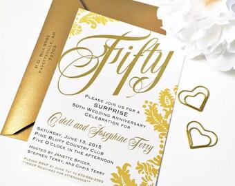 Golden Anniversary Invitation 50th Anniversary Invitation
