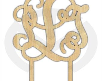 Cake Topper - 01584C- 3 letter Monogram, Unfinished Wood Laser Cutout, Wedding, Anniversary, Birthday