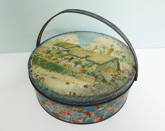 Vintage Tin with Anne Hathaway's Cottage by Loose-Wiles Biscuit Company, Shabby, Round Metal, Single Handle, Rusty Patina