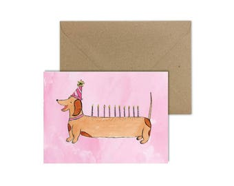 Dachshund//Sausage Dog//Sausage Dog Card//Weiner Dog//Kids Birthday Card//Birthday Card//Dog Card//Pink Dog Card//Puppy Dog/Dog In Party Hat