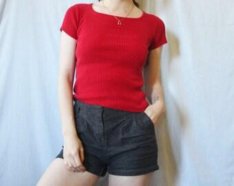 90s Red Silk Tee S