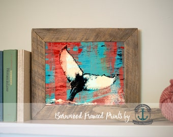 Whale Tail Red and Teal - Reclaimed Barnwood Framed Print - Ready to Hang - Sizes at Dropdown