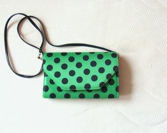 Cute Vintage Green & Navy Blue Polkadot Shoulder Bag / Clutch Purse / Vegan Bag