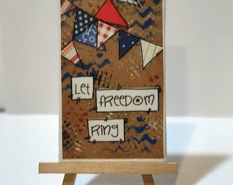 FIVE YEAR SALE Let freedom ring, Red, White and blue, Print and Easel Set, Mounted Print, Patriotic decor, Usa