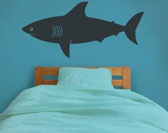 Shark Wall Decal, Shark Vinyl Sticker Art, Undersea, Marine Life Wall Decal,