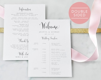 Wedding Itinerary-Editable PDF-Welcome Bag-Wedding Timeline-Welcome Letter-Wedding Favor-Wedding Printable-PDF Instant Download-#SN004_IT