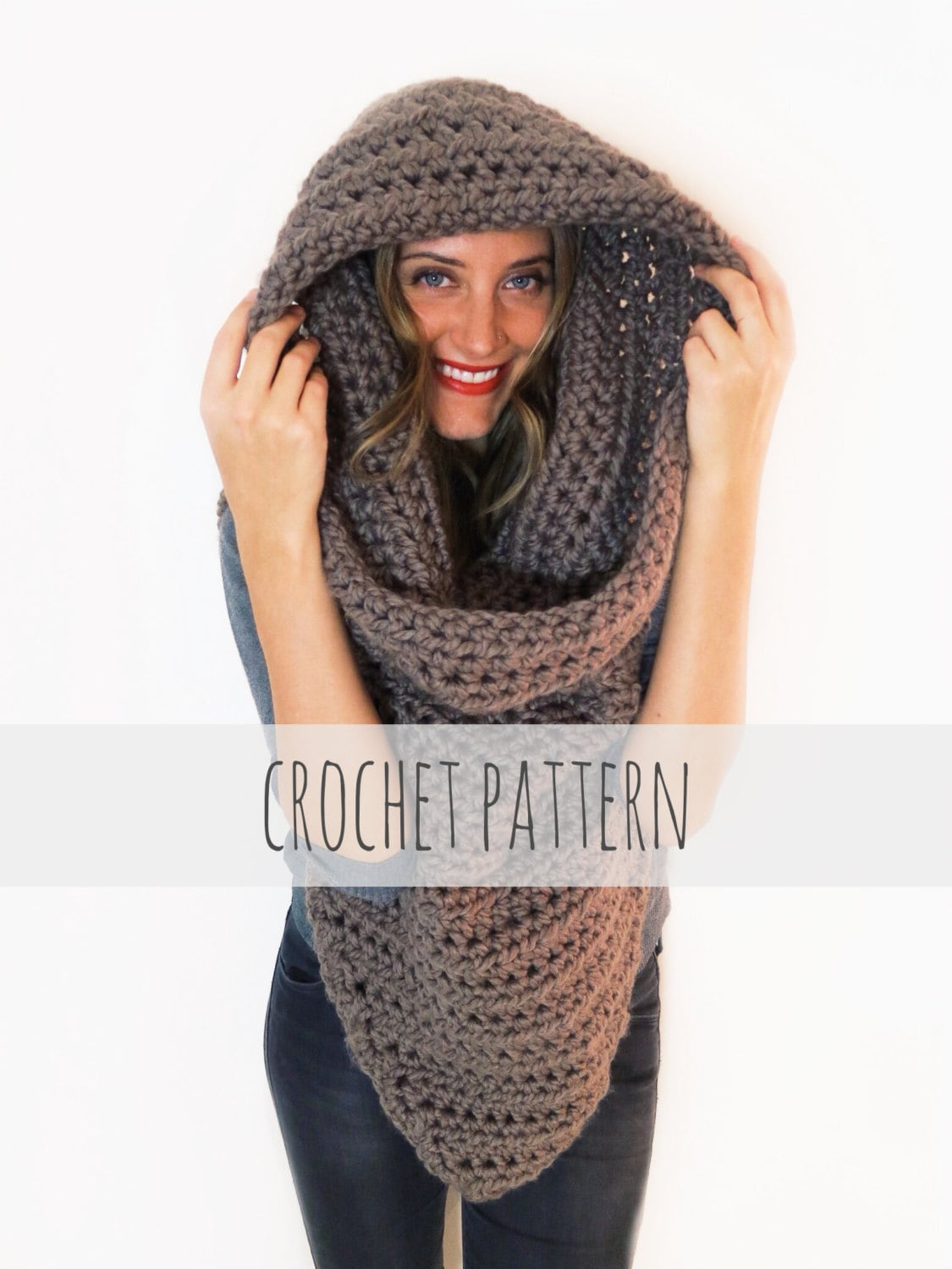 Pattern for chunky soft crochet poncho scarf cowl hood all zoom bankloansurffo Choice Image