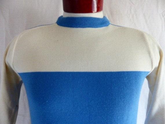L.L. Bean vintage 80's cotton knit collared sweater nautical two tone navy blue white horizontal stripe men women unisex pullover jumper bMawkv