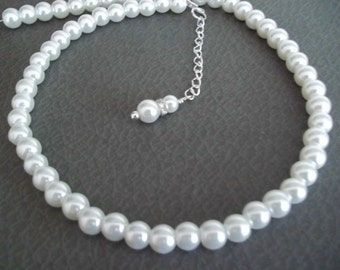 Pearl Bridal Wedding Necklace,White Pearl Necklace, Classic White Pearls, Elegant, Romantic,Bride Bridesmaid Single Strand Pearl Necklace