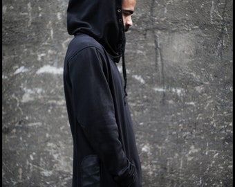 Max Hoodie (black hoodie-designed hood-post apocalyptic fashion-street fashion-unique hoodie design-apocalyptic wear-underground-alternative