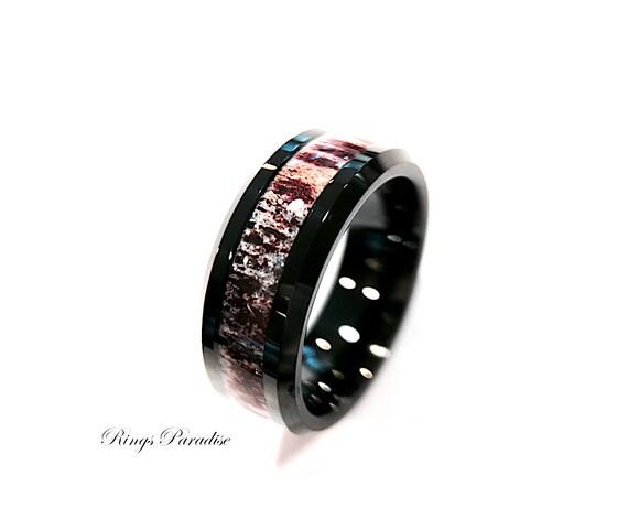 antler rings mens antler tungsten ring antler wedding band engagement rings mens tungsten band mens wedding band unique mens rings - Antler Wedding Rings