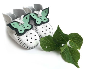 White / Mint Leather Baby Shoes & Moccs