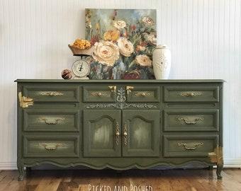 Dixie olive green dresser buffet console