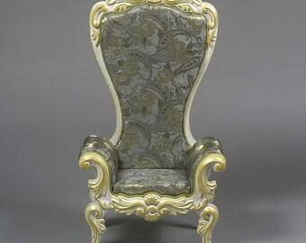 BJD Doll Armchair 1/4 MSD High Throne Rococo Royal Furniture Custom Order