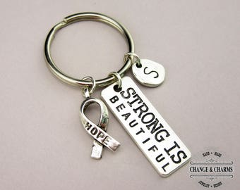 Strong Is Beautiful/Hope Ribbon Keychain, Cancer Ribbon, Hope Ribbon,Strong Is Beautiful,Stainless,Initial Charm,Personalized,CST007,CSY019