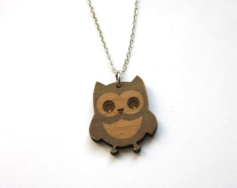 Owl necklace, animal jewellery, lucky charm jewel, natural wood, metal chain, brown color engraved, man or woman collar, unisex, gift idea