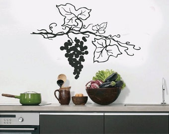 Grapes Vine Swirls Wall Quote Decal - Kitchen Decals - Restaurant Decoration - Vinyl Wall Decal  - KQ38