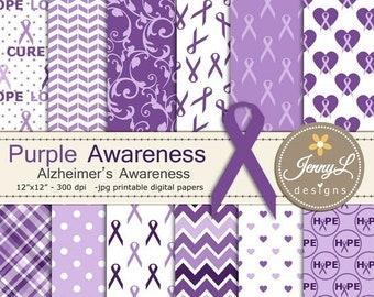 50% OFF Alzheimer's Disease Awareness Digital Papers, Purple Ribbon Digital Papers, heart, hope, love
