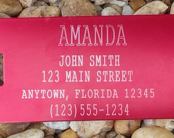 Luggage Tag, Pet Crate Tag, I.D. Tag, Medium Size, Anodized Aluminum, Laser Engraved, Personalized