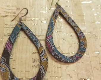 Paisley suede Leather Teardrop earrings. Light weight. Nickle free. Hypoallergenic. Med 2 1/4 inches