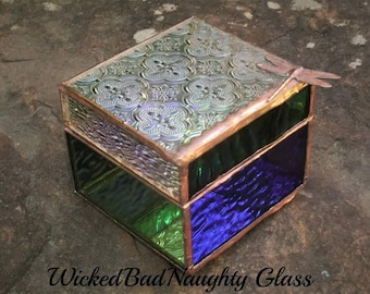 WickedBadNaughty Glass Box with dragonfly clear/blue/green