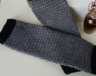 Gray Leg Warmers, Crochet Leg Warmers, Winter Leg Warmers, Crochet, Handmade, Gift, Teen Girl Leg Warmers, Ladies Leg Warmers, Accessories