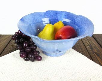 Blue ceramic fruit bowl, pottery colander