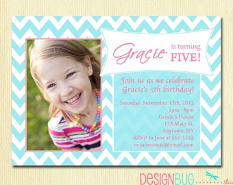 Mermaid birthday invitation 1 2 3 4 5 year old any age girls birthday party photo invitation printable chevron invitation 1 2 3 4 5 6 year old birthday stopboris Image collections
