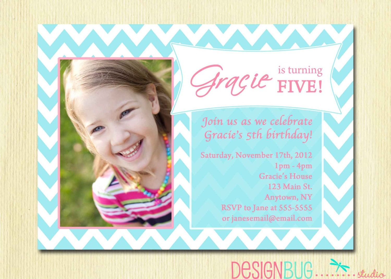Girls birthday party photo invitation printable chevron zoom filmwisefo Images