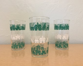 30% SALE *** Three Federal Glass Co. High Ball Glasses / Tumblers with Green & White House and Tree Silhouettes