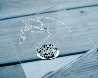 Silver Jasper Necklace, Large Cabochon Pendant, Statement Necklace, Bohemian Necklace, Jasper Jewelry