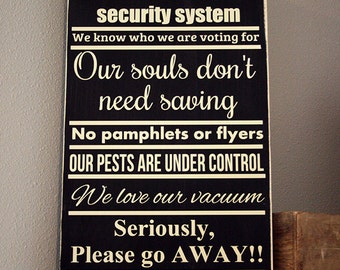 "12x24"" No Soliciting - Our Souls Don't Need Saving Wood Sign - Friends And Family Welcome - Go Away - Do Not Disturb - Porch Decor - Home"