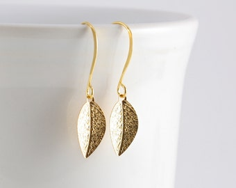 Tiny Leaf Earrings, Gold Leaf Earrings, Nature Inspired Jewelry, Under 10
