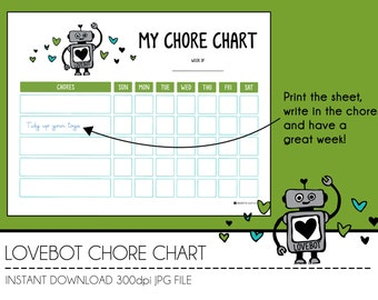 Instant Download Chore Chart - LoveBot