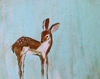 My Baby Deer ~ Fawn with spots on chambray blue background