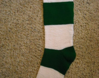 Personalized Christmas Stocking - 30 inch - Green and White Striped - Hand Knit - Other Colors Too - Made To Order - Super Long - Custom