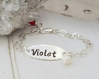 Sterling Baby Bracelet, Sterling Silver Baby bracelet, Baby name bracelet, ID bracelet, Infant Name Bracelet, Personalized Name bracelet