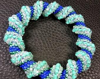 COOLEST POOL  BRACELET Aqua Green & Blue Glass Weaved Bangle Bracelet