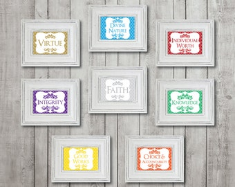 """4""""x6"""" Young Women Values, YW Values, Eight (8) Printable Digital Files"""
