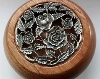 African Utile Pot Pourri Bowl with Pewter Lid