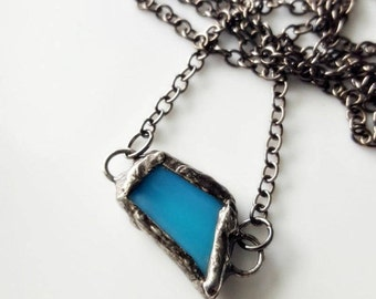 Stained Glass Necklace, Organic Wearable Art, Blue Glass, Antiqued Patina, Gunmetal Chain, Blue Pendant, Boho, Women's Handmade Necklace